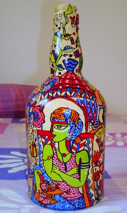 paintings on bottles